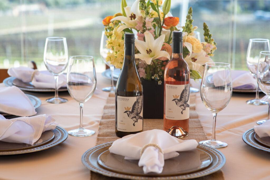 wine club members lounge dinner table