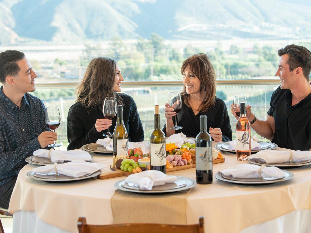 wine club members enjoying dinner