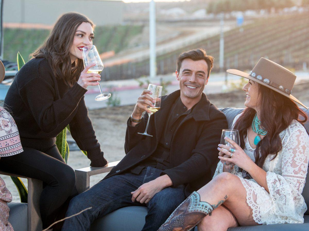 wine club members enjoying altisima patio